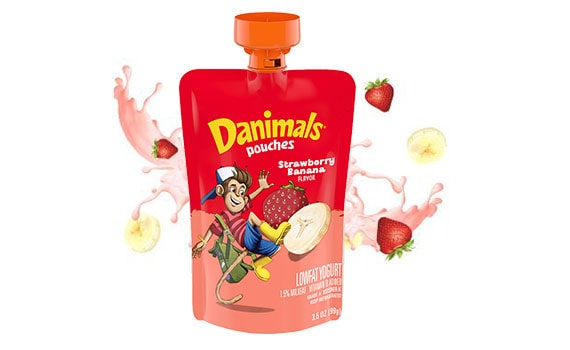 Strawberry Banana Kids Squeezable Yogurt Pouch